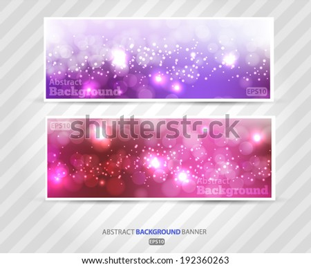 Set banners abstract blurred with bokeh effect, glittery lights purple abstract Christmas background. Vector EPS 10 illustration.