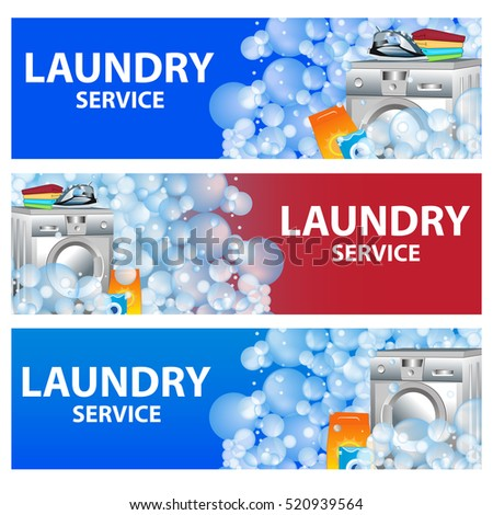 Laundry services flyer stock images royalty free images set banners laundry service poster template for house cleaning services vector illustration pronofoot35fo Image collections