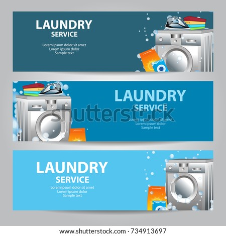 Laundry services flyer stock images royalty free images vectors set banners laundry service poster template for house cleaning services vector illustration pronofoot35fo Image collections