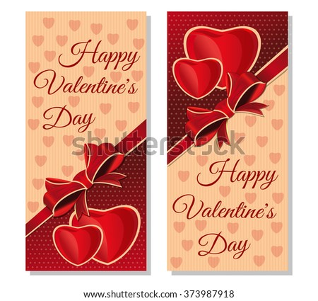 Set banners with congratulatory inscription  for Valentines Day. Happy Valentine's Day. Vintage greeting cards for Valentine's Day. - stock vector