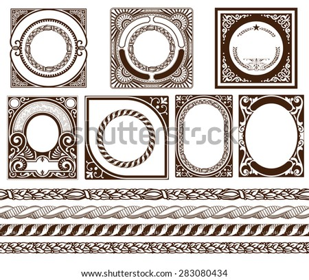 Set baroque cards with ornaments and floral details - stock vector