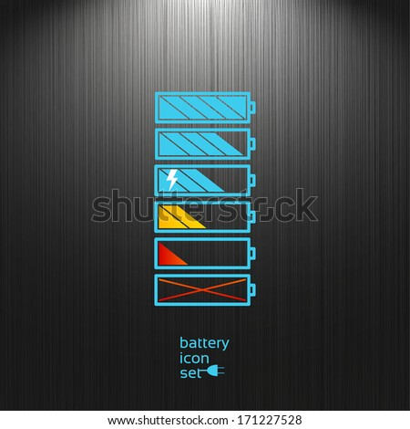 Set, Battery icon on a dark textured background for your design, charge level indicators - stock vector