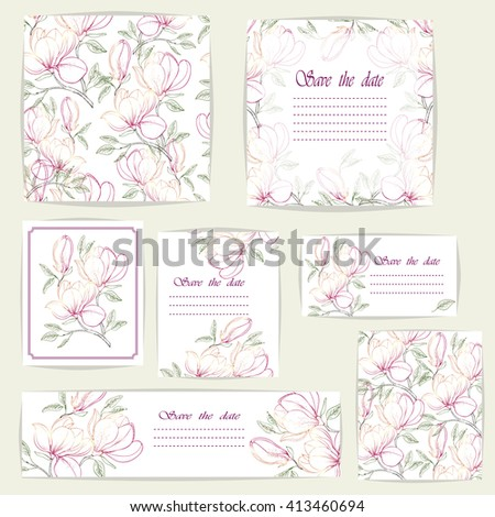 Set beautiful cards and seamless pattern with Magnolia flowers, design elements.Can be used for birthday,Valentines Day, Mothers Day, wedding cards, invitations, greetings. Vector illustration. EPS 10