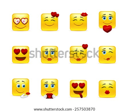 Set beauty valentine emoticons in love - stock vector