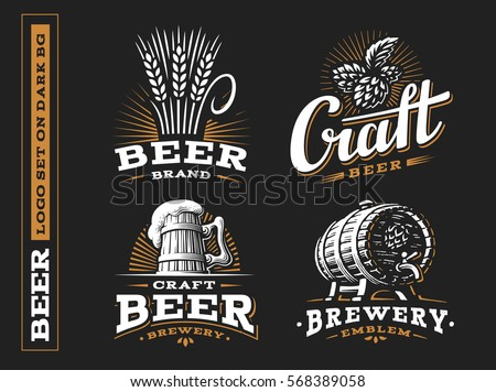 Set beer logo - vector illustration, emblem brewery design on black background.