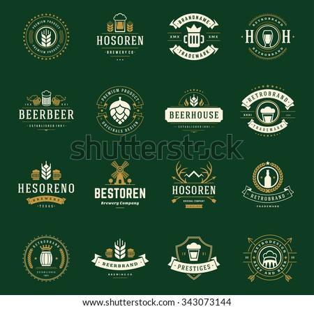 Set Beer Logos, Badges and Labels Vintage Style. Design elements retro vector illustration. - stock vector