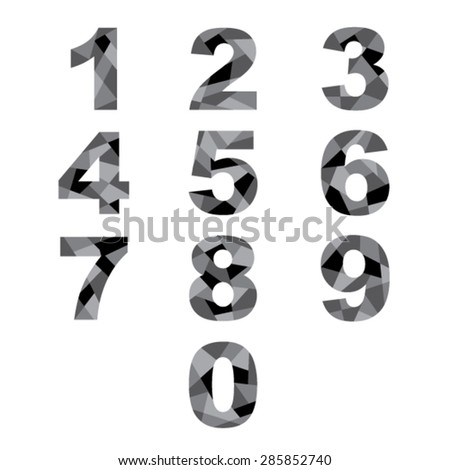 Set  black abstract numbers. - stock vector