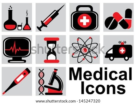 Set black and red medical icons on a light background - stock vector