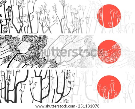 Set black and white banners of abstract drawing tree with small blossoms and leaves against sun. - stock vector