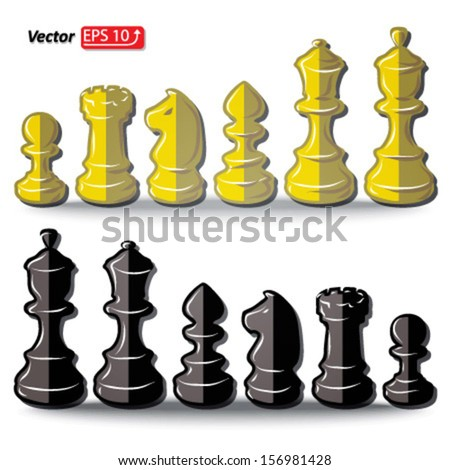 set black and white  chess pieces , chess figure , king. queen, bishop, knight , pawn, rook isolated on white background vector - stock vector