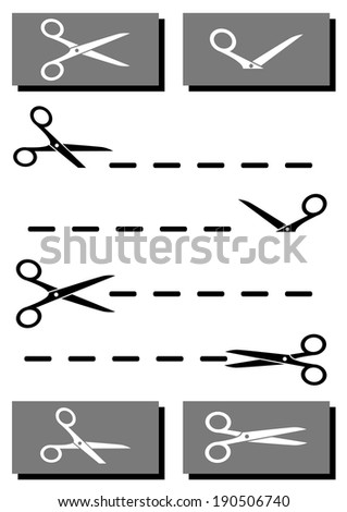 set black and white scissors with coupon and cut line - stock vector