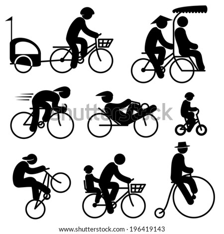 set black and white vector icons of people cyclist and bicycle