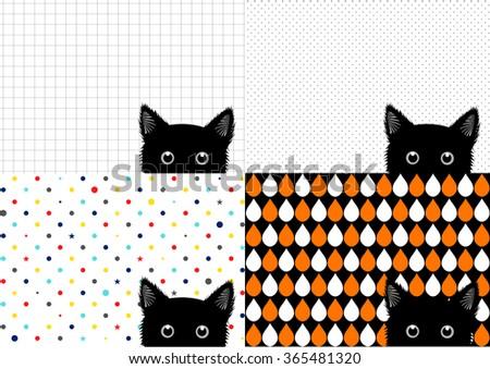 Set Black Cat Background Vector Illustration - stock vector