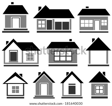 Set Black House Icon Isolated Cottage Silhouette For Web Stock