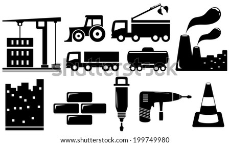 set black industrial objects and tools silhouette - stock vector