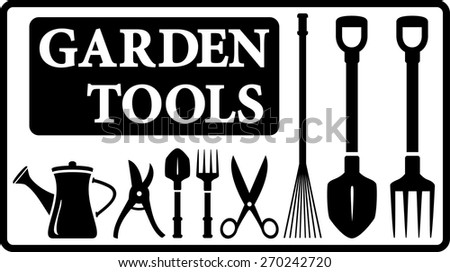 set black isolated garden tools silhouette collection in frame - stock vector