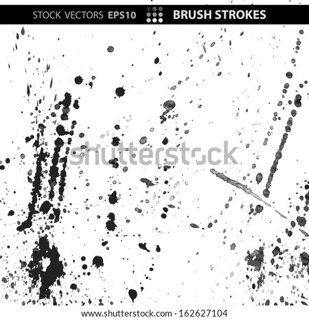 Set black silhouette blot of ink on a white isolated background. Vector EPS 10 illustration. - stock vector