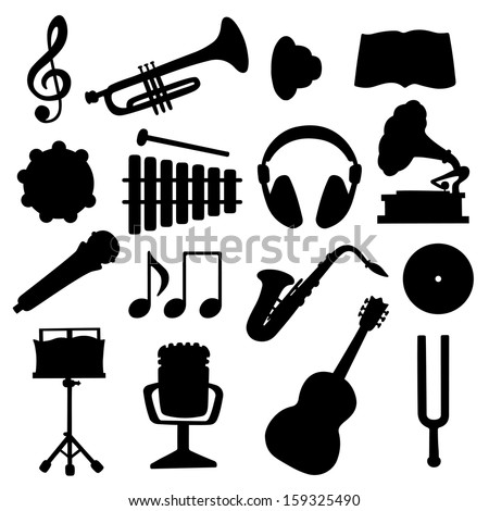 Set black silhouette music icons - vector - stock vector