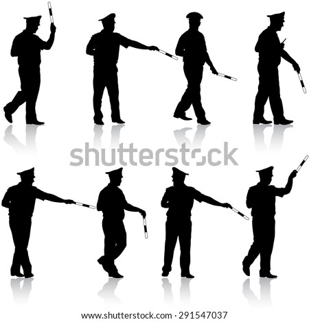 Set black silhouettes  Police officer  with a rod on white background. Vector illustration.