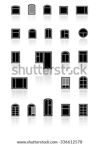 set black windows with mirror reflection silhouette - stock vector