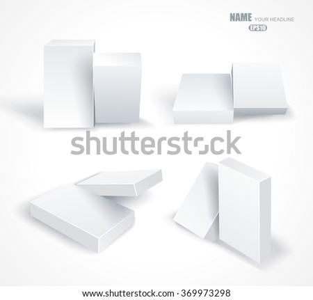 Set blank white boxes in different planes with shadows isolated on white