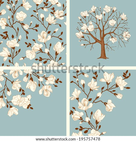 Set. Blooming magnolia. Vector vintage illustration. Seamless floral pattern, tree, cards. White flowers on a blue background. - stock vector
