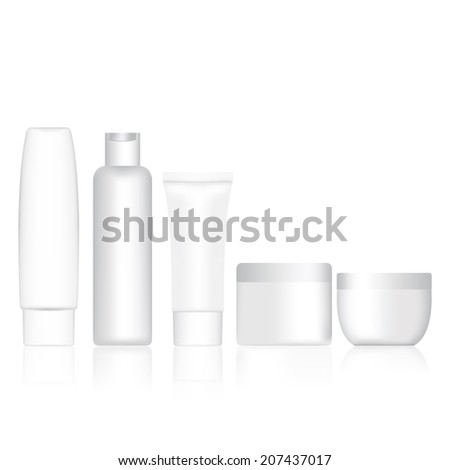 Set bottle shampoo and cream container blank. Vector illustratio