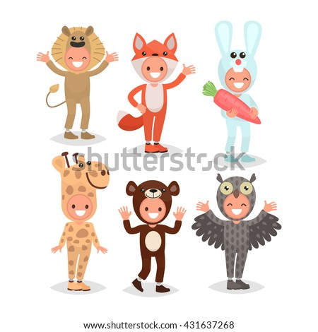 Set boys and girls dressed in animal costumes for the masquerade. Costume lion, fox, rabbit, giraffe, bear, owl. Vector illustration of a flat design - stock vector