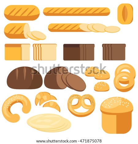 Set bread, baguette, loaf, cake, grocery, bakery