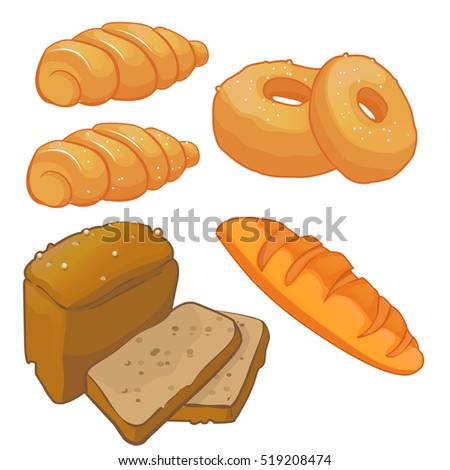 Set breads, bread, rolls and donuts. Vector cartoon illustration