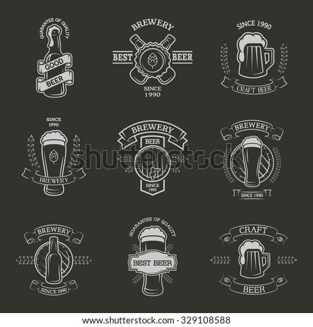 Set brewing emblems, labels in vintage style. - stock vector