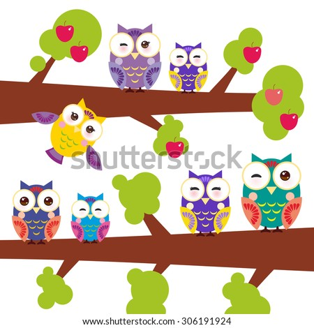 set bright colorful owls on the branch of apple-tree with red apples on white background. Vector - stock vector