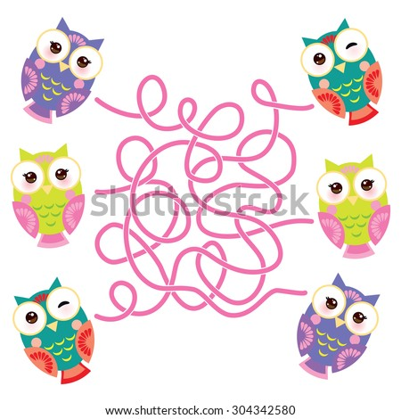 set bright colorful owls on white background. labyrinth game for Preschool Children. Vector - stock vector