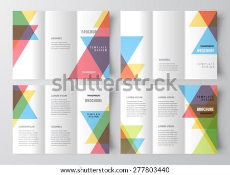 Set brochure design template colored transparent - stock vector