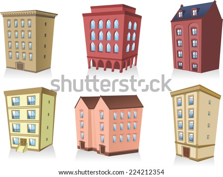 set 2, Building apartment house construction condo residence tower penthouse collection vector illustration.  - stock vector
