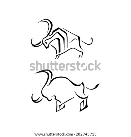 Set bulls elements for design isolated on white background. Vector illustration. Big horn cloven-hoofed.