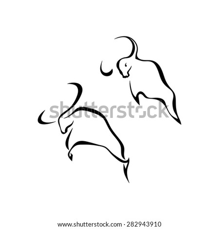 Set bulls elements for design isolated on white background. Vector illustration. Standing on its hind hooves - stock vector