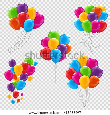 Set, Bunches and Groups of Color Glossy Helium Balloons Isolated on Transparent Background. Vector Illustration EPS10