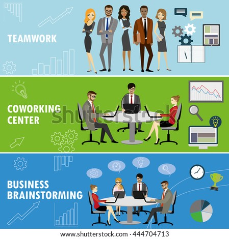 Set business banner. Teamwork,coworking and group brainstorming. Business people in different situations.Vector illustration