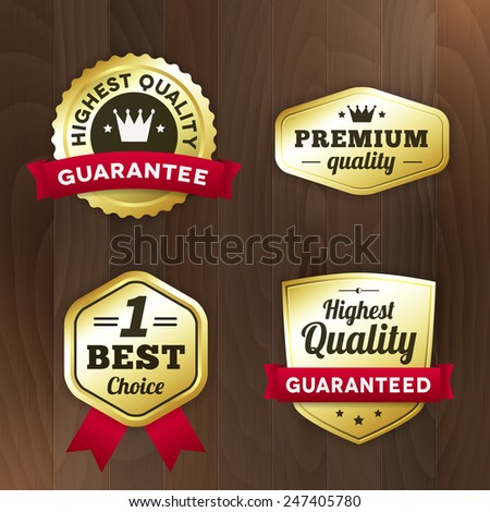 set business gold label on wood vector background. isolated from background. best product / premium quality / best choice tag - stock vector