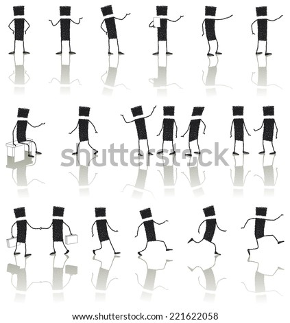 Set: Business people. Illustration of business people in different situations. EPS10 file. - stock vector
