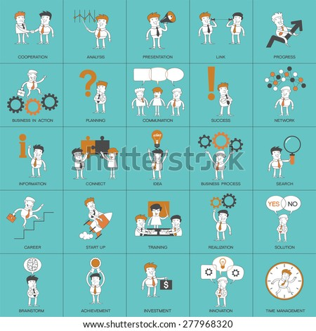 Set business process. Set of cartoon business people in different situations. Twenty-five story in one picture - stock vector