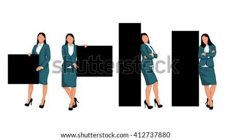 set business woman - stock vector