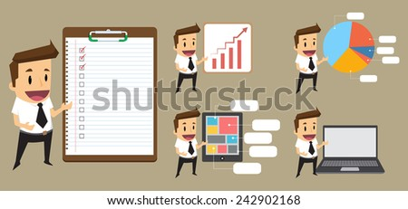 Set Businessman giving a presentation.vector - stock vector