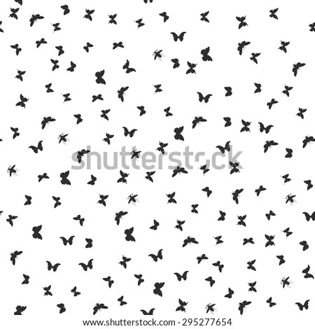 set butterflies, cicada isolated black silhouette. Seamless pattern on white background. Vector