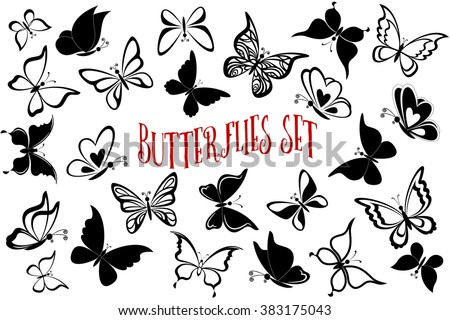 Set Butterflies Pictograms, Monochrome Black Contours and Silhouettes Isolated on White Background. Eps10, Contains Transparencies. Vector