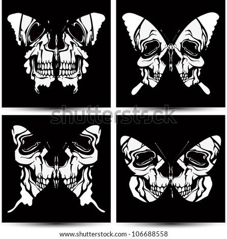Set butterflies to skulls. Vector illustration. - stock vector