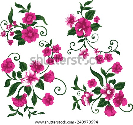Set by beautiful bouquet of pink flower. - stock vector