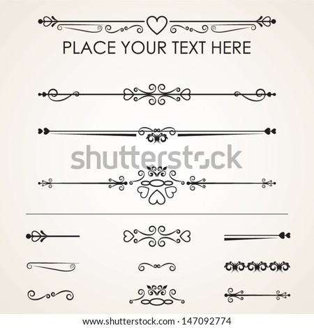 Set Calligraphic Design Decorative Elements, vector set: calligraphic design elements and page decoration - lots of useful elements - stock vector