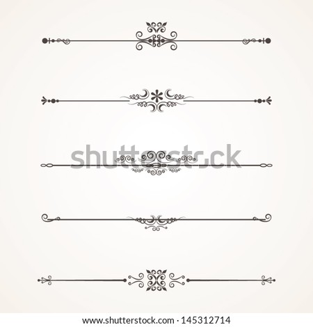 Set Calligraphic Design Elements - stock vector